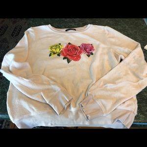 WILDFOX Triple Rose Knit Sweatshirt